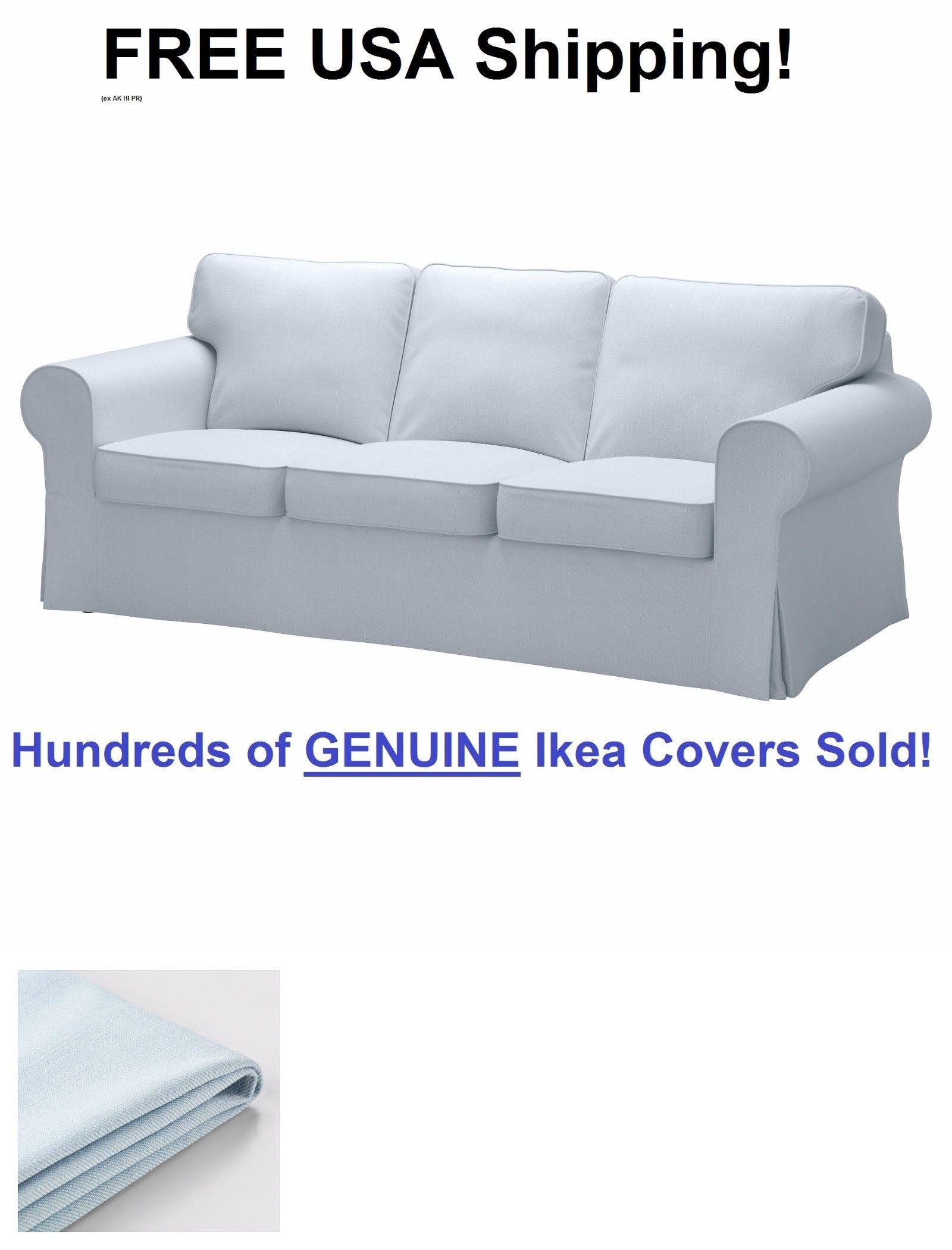 Slipcovers 175754: Ikea Ektorp Three (3) Seat Sofa Slipcover Cover  Nordvalla Light Blue