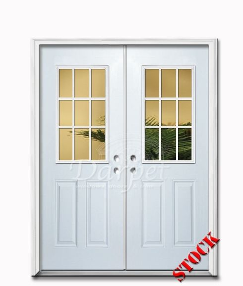 French Exterior Doors Steel: 9 Lite Half Clear Glass Steel Exterior Double Door 6-8