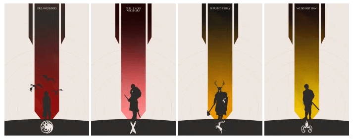 House Banners & Sigils done in a minimalist style [7 days to go before Season 6 of Game of Thrones]