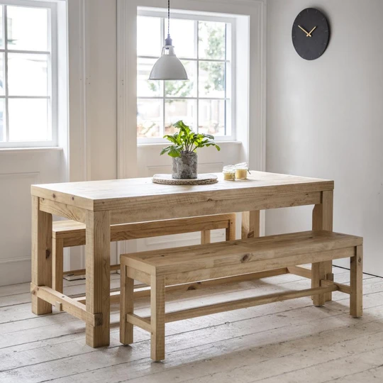 Chunky Pine Dining Table And Bench Set In 2020 Table Bench Set