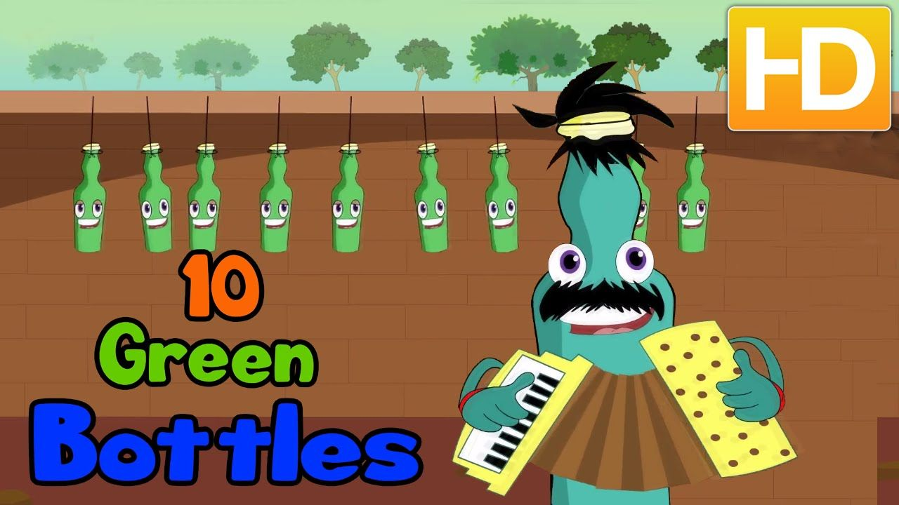 Ten Green Bottles Hanging On The Wall Famous English Nursery Rhyme Cartoon Rhymes Kids Nursery Rhymes Nursery Rhymes Green Bottle