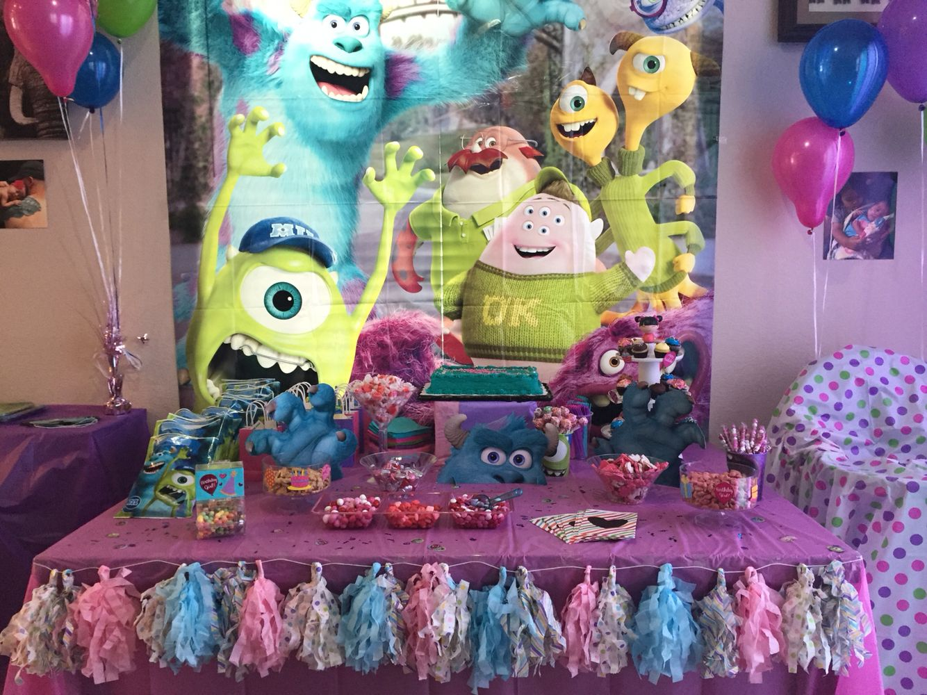 baby girls first birthday monsters inc goodie table for girls - Baby Halloween Birthday Party