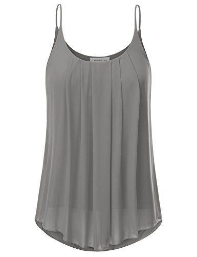 a1605d37345bac JJ Perfection Women's Pleated Chiffon Layered Cami Tank T... https://