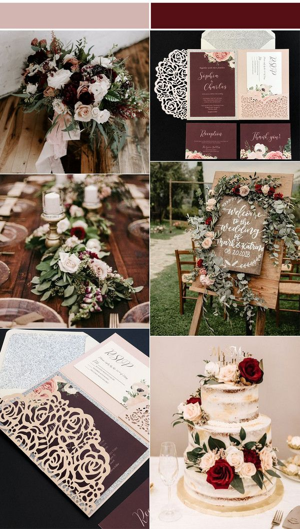 Burgundy Blush Wedding Invitations with Laser Cut Pockets-Free RSVP Cards