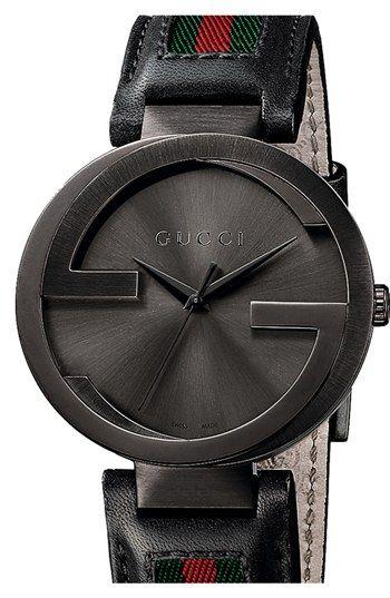 3d1c6625697 Gucci  Interlocking G  Leather Strap Watch
