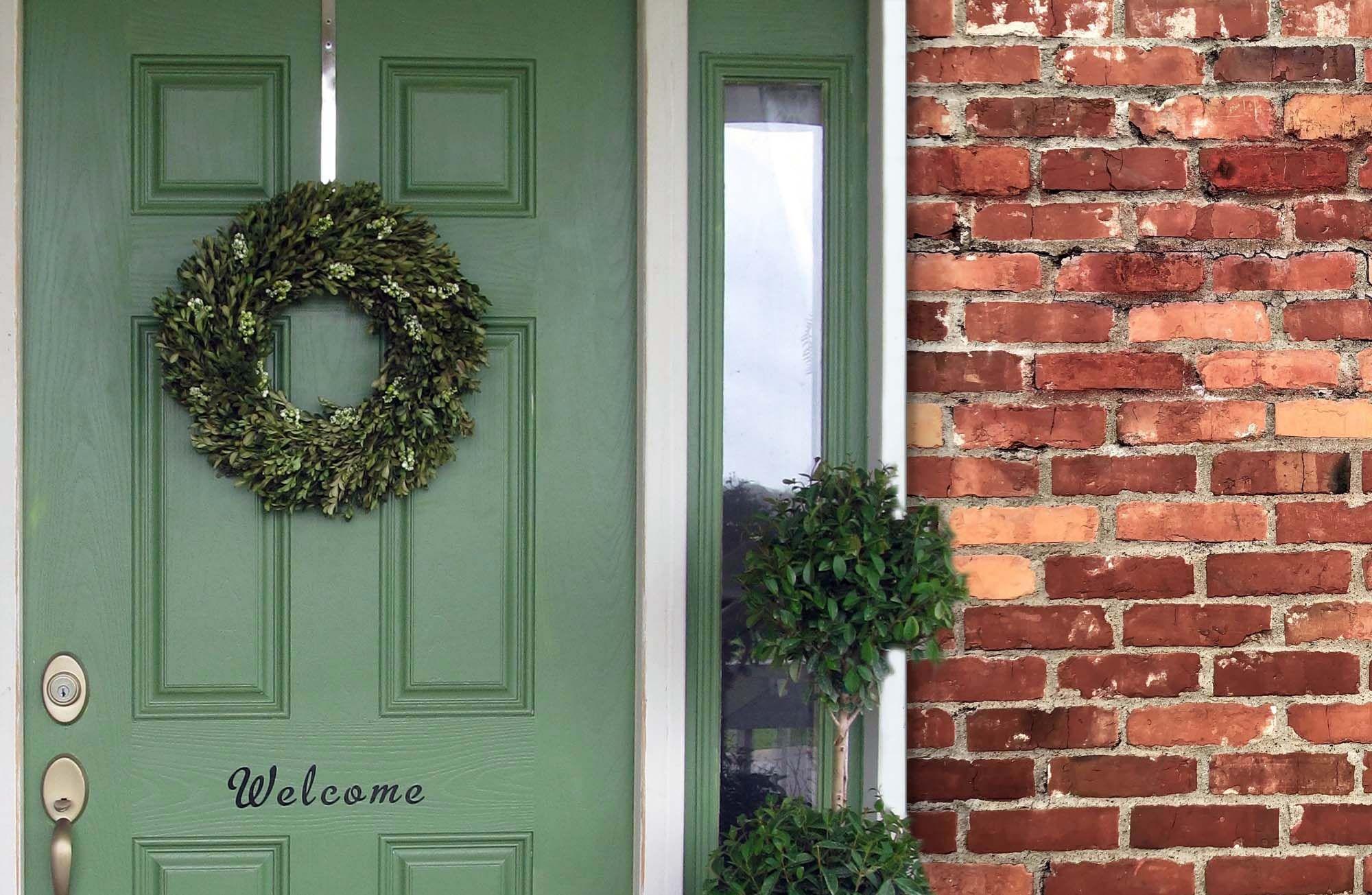 Green Front Door With Wreath Brick House Brick House Front Door Colors Red Brick House Brick House Colors