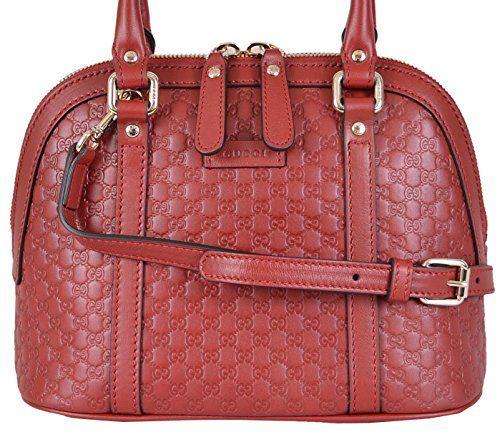 f551bcd1 Gucci Women's Micro GG Leather Convertible Mini Dome Purse (Red ...