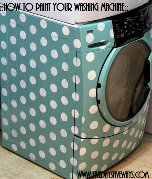 stenciling a washer dryer set with polka dots, appliances, laundry rooms, painting, finished polka dot stenciled washer