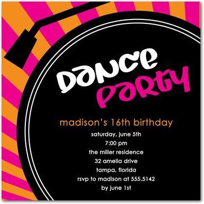 DJ Booth Fuchsia Birthday Party Invitations in Fuchsia Hello