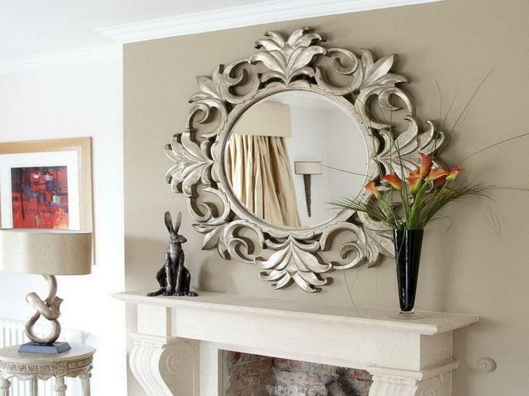 Original espejo marco plata chimenea muebles pinterest for Espejos decorativos para chimeneas
