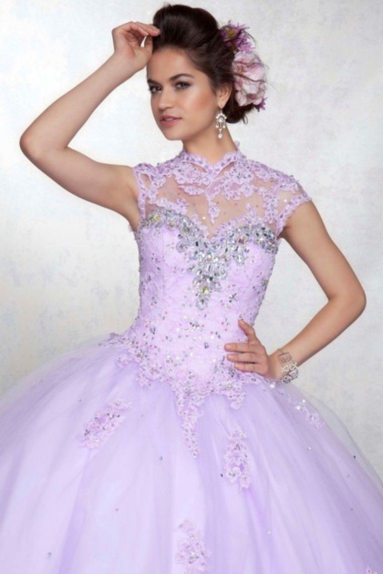 prom dresses onsale high neck floor length tulle lilac size