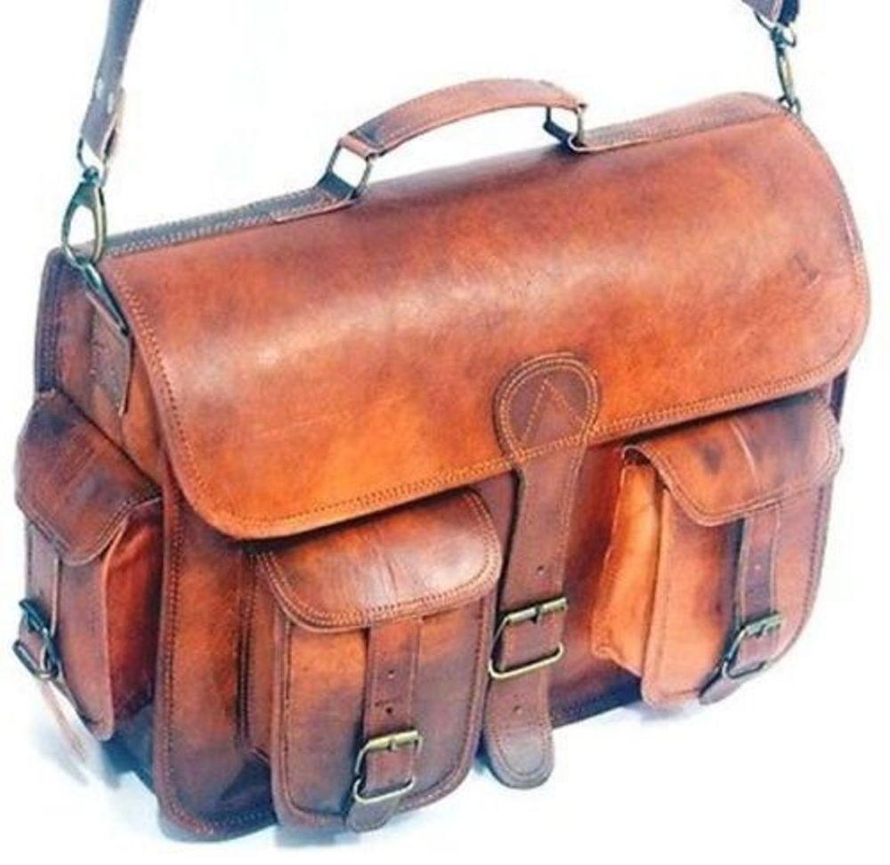 Men/'s Genuine Vintage Leather Messenger Laptop Briefcase Satchel Women Bag Brown