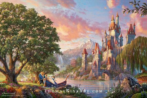 "Introducing a very special new Thomas Kinkade Disney painting – ""Beauty & the Beast II""! Recently discovered in the Thomas Kinkade Vault, this is the final Disney painting that Thom painted. He loved this classic Disney film, and the notes he left us indicate that he created this scene imagining the romantic moments that might have been between Belle and the Beast. To learn more, click on this Pin. #disney #disneyprincess #beautyandthebeast #thomaskinkade #artnews"