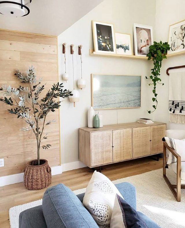 Photo of Organic Accents Lend Warmth to a Cozy and Uplifting Living Room | Hunker