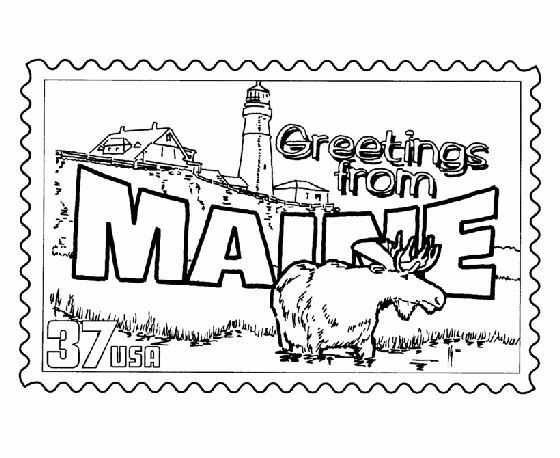 Maine State Stamp Coloring Page Greetings From The States