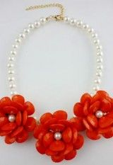 Red Flowers with Pearls Necklace   Bettie Page Clothing