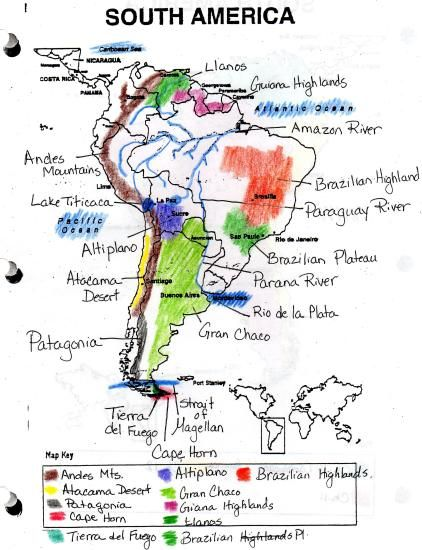 South America landforms map - Mrs. Morgan at Dallas Middle ... on map of saint lucia highlands, peru highlands, map of guiana highlands, map of latin america and its landforms, map of argentina with lakes labeled, map of red sea highlands, map of scotland highlands,