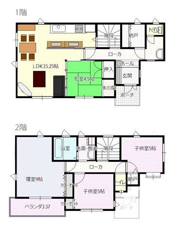 水回りは 2階浴室とリビングの広さの関係 意外とスペースを取って