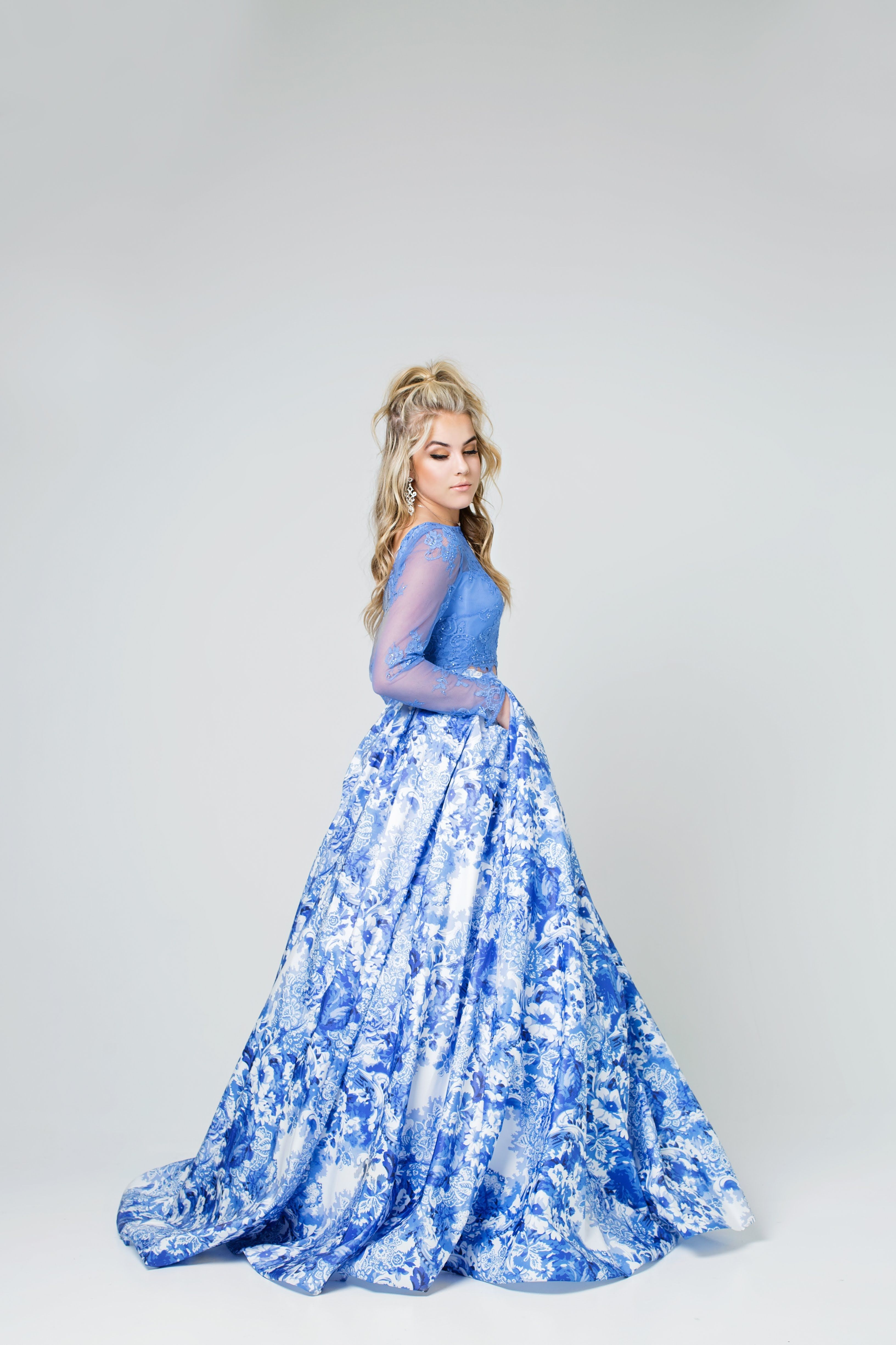 Sherri hill prints light blue periwinkle print ballgown piece with