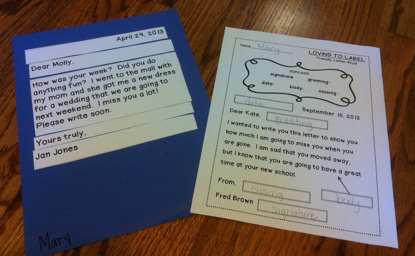 Friendly Letter Labeling Worksheet