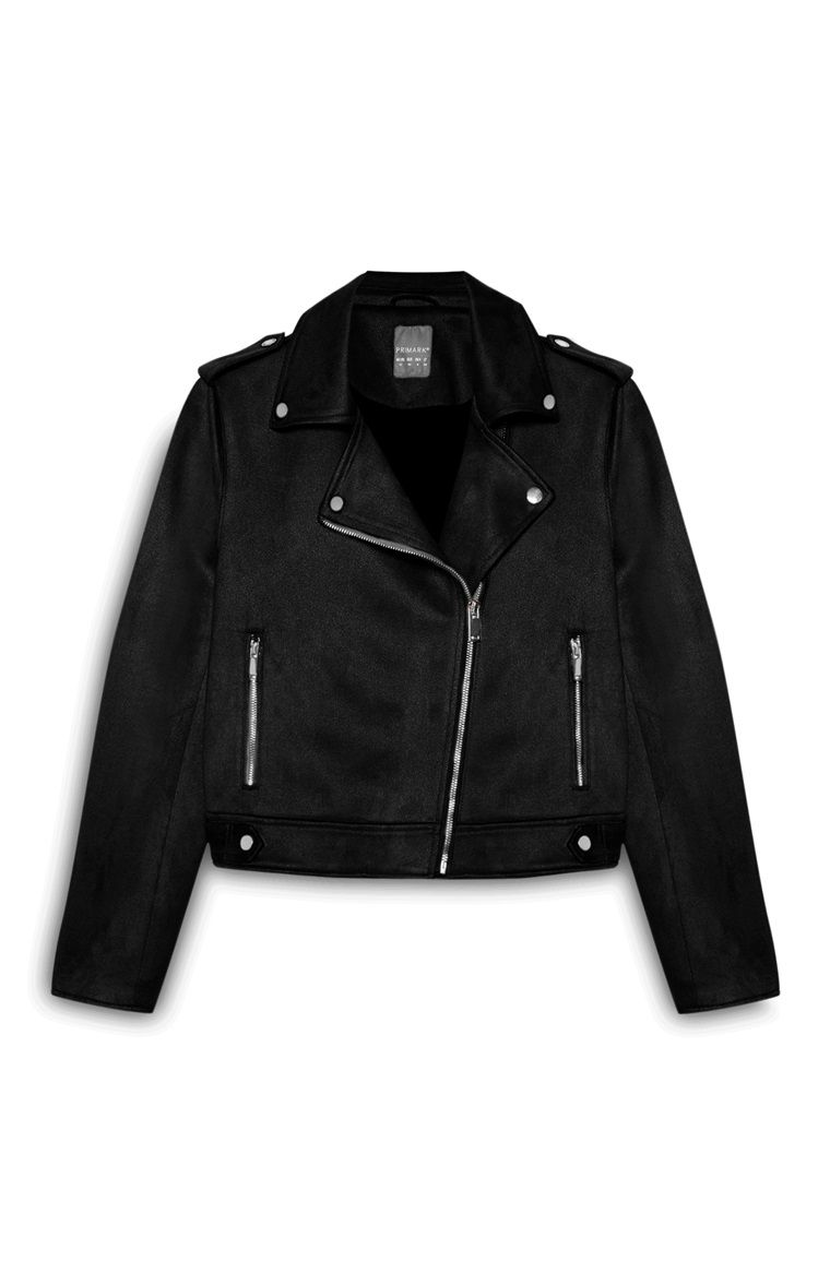 Black Suedette Biker Jacket Primark Jackets Jackets Aesthetic Clothes [ 1177 x 760 Pixel ]