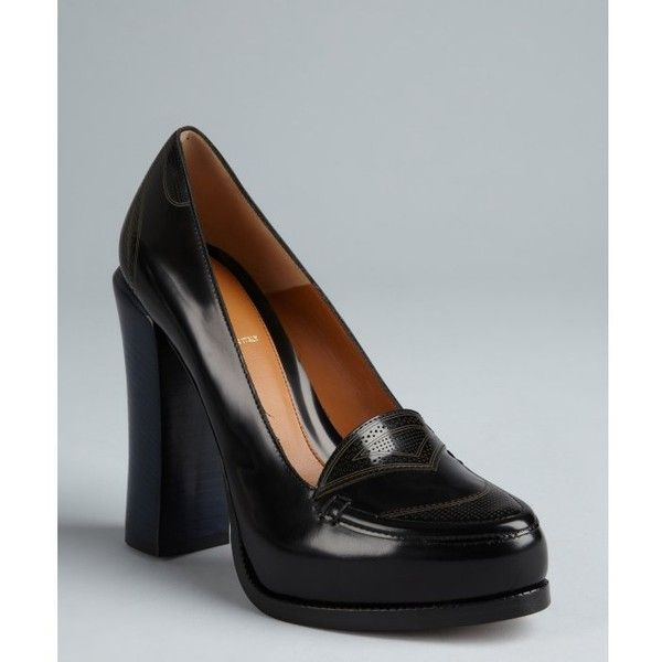 Fendi Black And Blue Colorblock Leather Stacked Heel Loafers (18,360 PHP) found on Polyvore