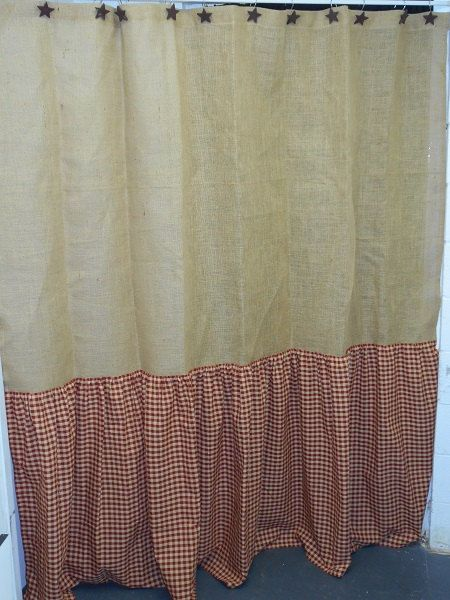 Ruffled Burlap Amp Homespun Shower Curtain Extra Long Country Primitive Cottage Farmhouse Cabin
