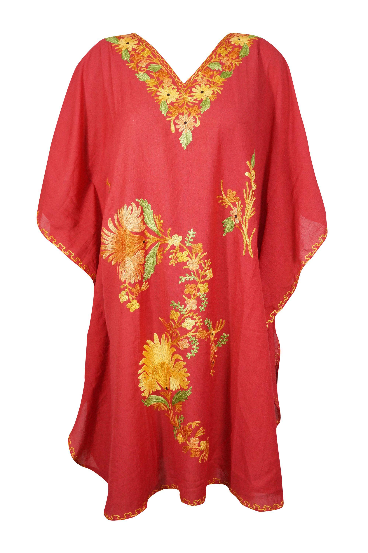 Womens Caftan Dress Red Embroidered Kaftan Dress Knee Length Etsy In 2021 Boho Caftan Colorful Maxi Dress Caftan Dress [ 3000 x 1997 Pixel ]