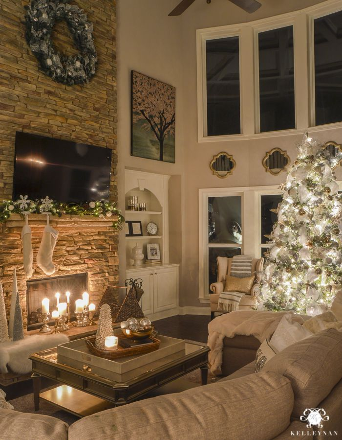 Two Story Christmas Great Room at Night with Elegant White Christmas …   Christmas decorations ...