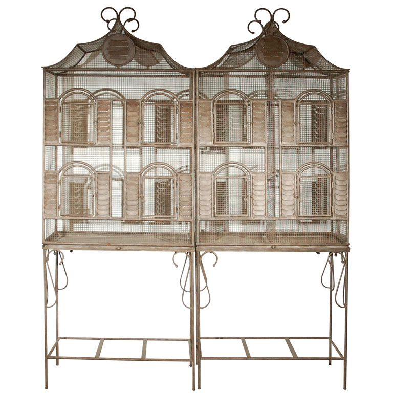 Iron Bird Cage on Stand   From a unique collection of antique and ...