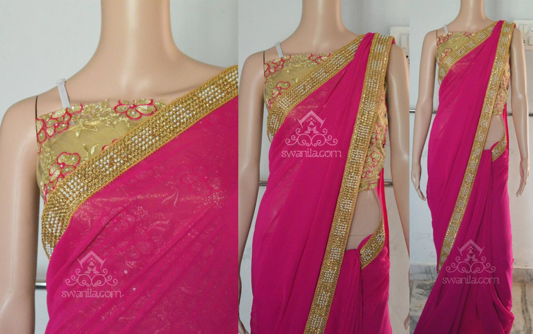 Pink Pure Georgette Saree finished with Stone and Pearl work