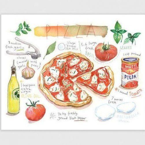 K chenkunst Pizza Rezept Poster rote K che D cor von lucileskitchen    Kitchen art, Kitchen ...