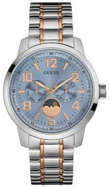 GUESS W0617G1 Moon Phase Unisex Silver Steel Bracelet With Blue Analog Dial bf0bd432982