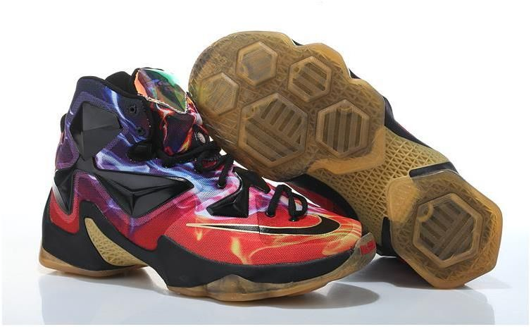 big sale 6afe1 a4f91 Nike Lebron 13 Brown Red Black Blue0