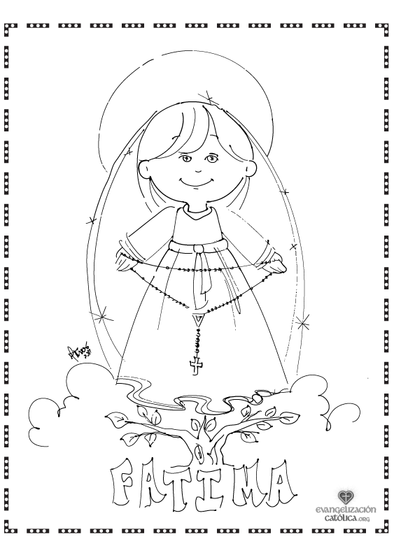 Cute Coloring Page For Our Lady Of The Rosary Perfect For October The Month Of The Rosary