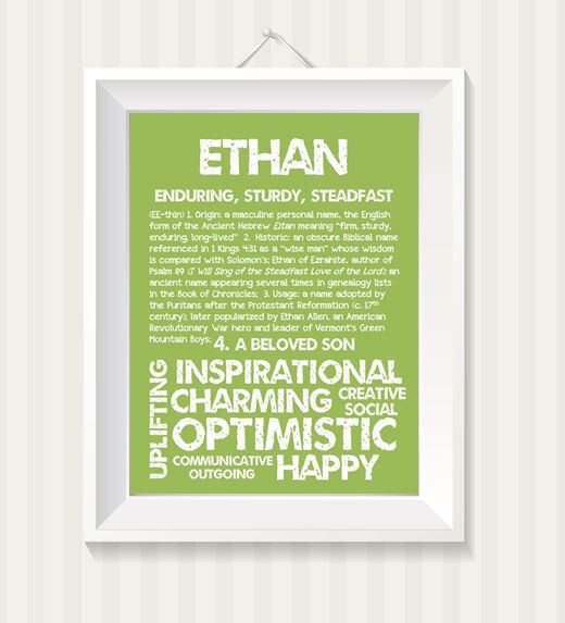 ETHAN Personalized Name Print / Typography Print ...