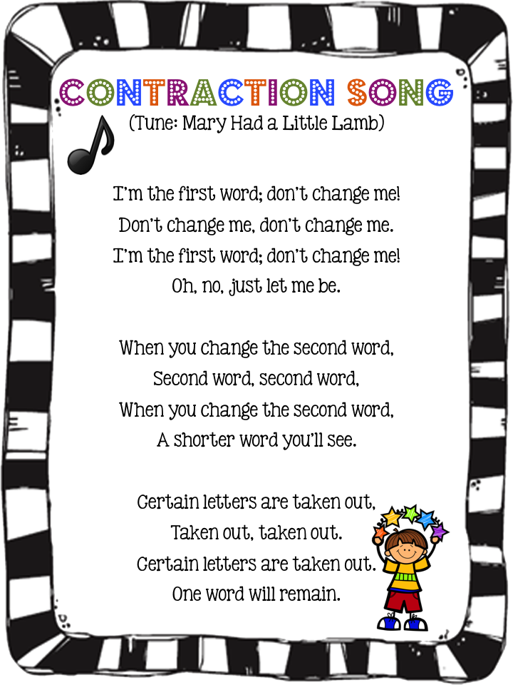 Contraction Song To The Tune Of Mary Had A Little Lamb Careful You May Get This Song Stuck In