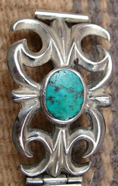 Photo of Item #761P- Vintage Navajo Turquoise Sandcast Watch Bracelet —Native American Watch Bracelets- EAGLE ROCK TRADING POST-Native American Jewelry