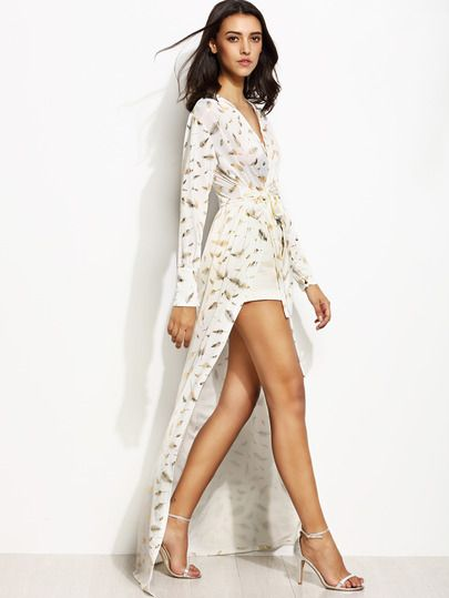 83c8fdee76 Shop White Feather Print Wrap V Neck Side Slit Maxi Dress online. SheIn  offers White Feather Print Wrap V Neck Side Slit Maxi Dress & more to fit  your ...
