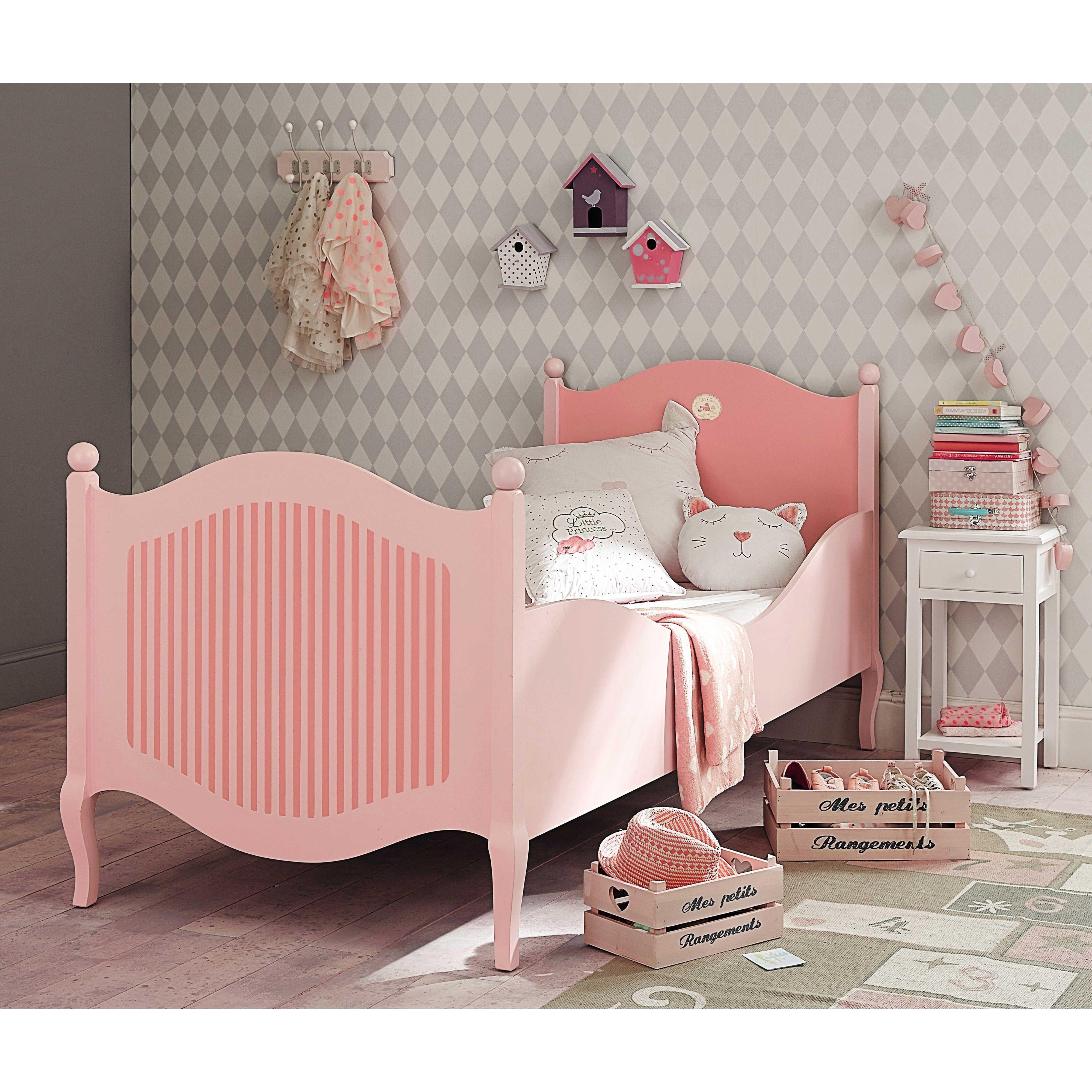 Lit enfant 90 x 190 cm en bois rose et blanc Gourmandise