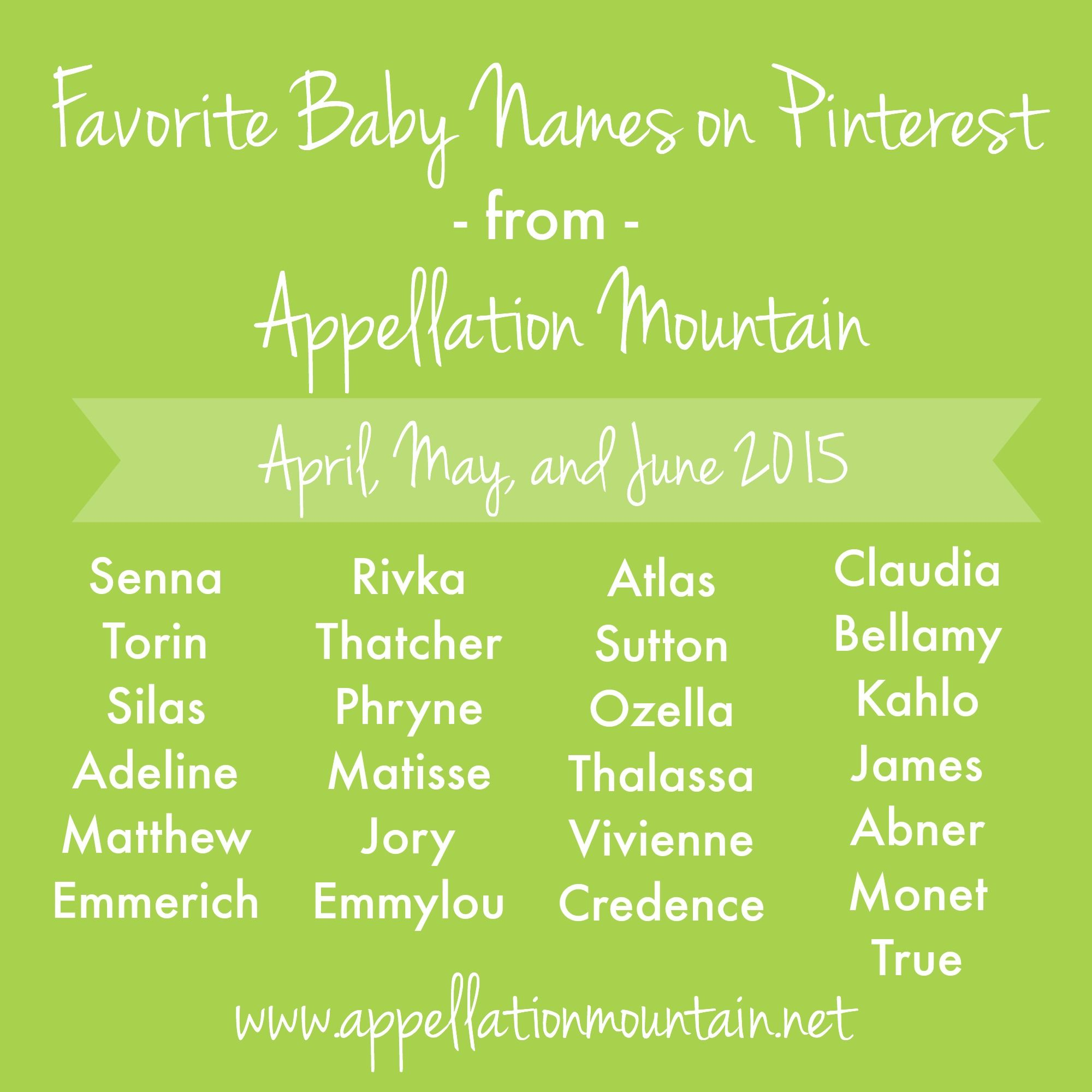 Favorite Baby Name Posts Second Quarter 2015 Appellation Mountain In 2021 Baby Names Pretty Names Names With Meaning