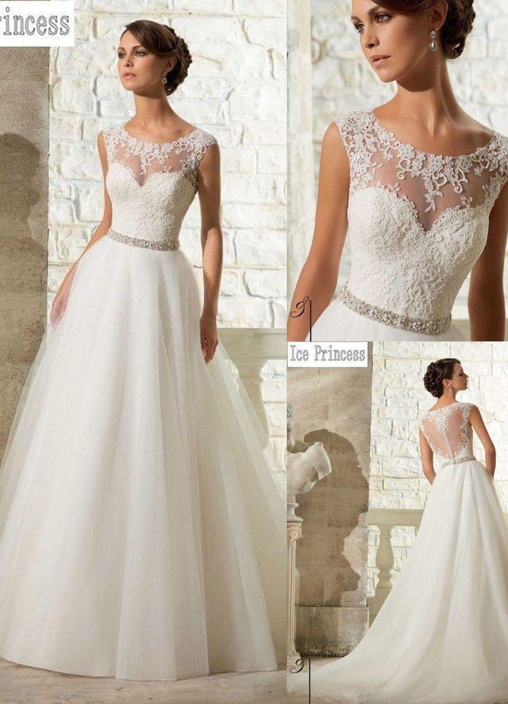 Neu Weiß/Elfenbein Braut Ballkleid Hochzeitskleid Brautkleider 34 36 ...
