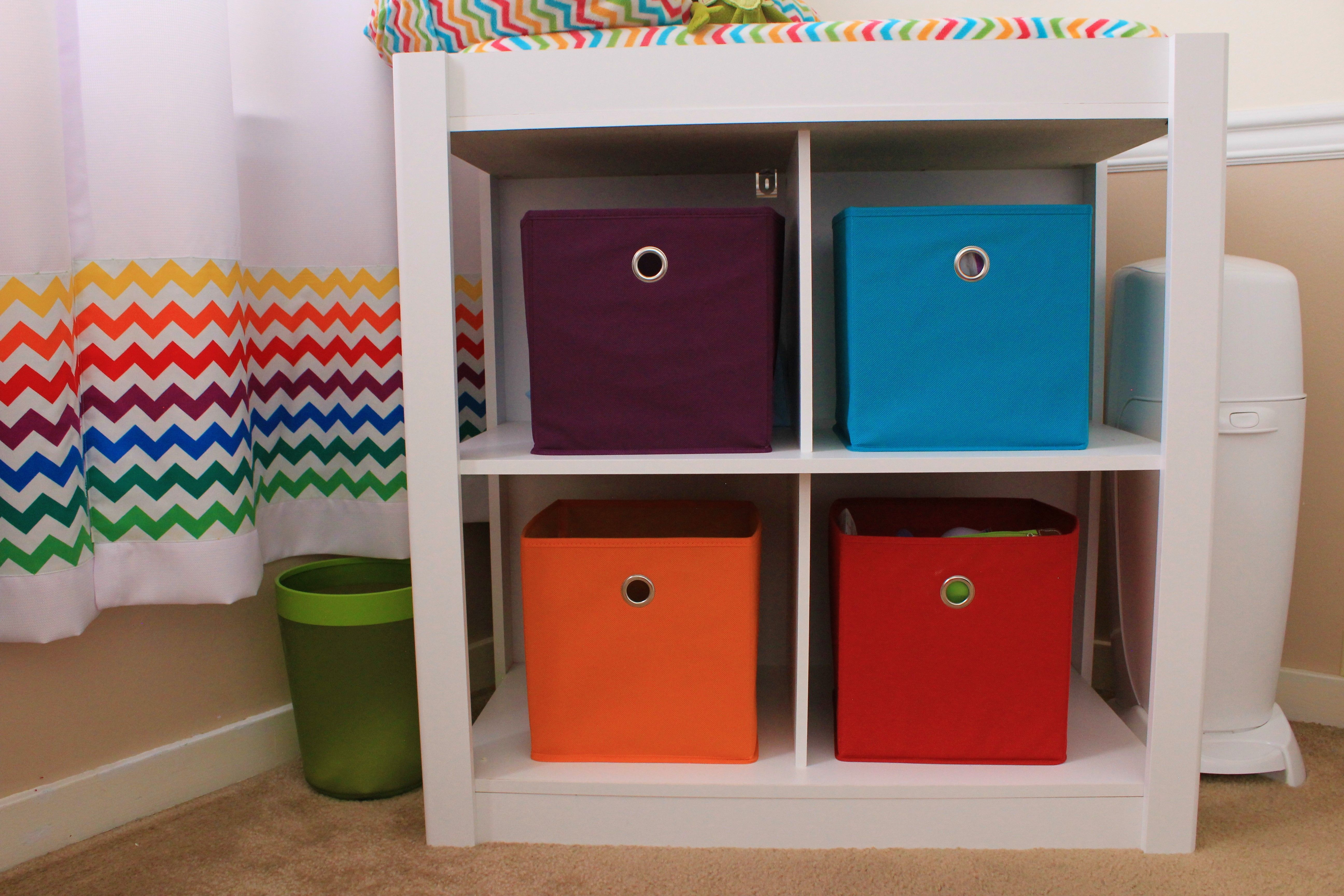Muppet Nursery, Changing Station. Cubes from Target, Table from ...