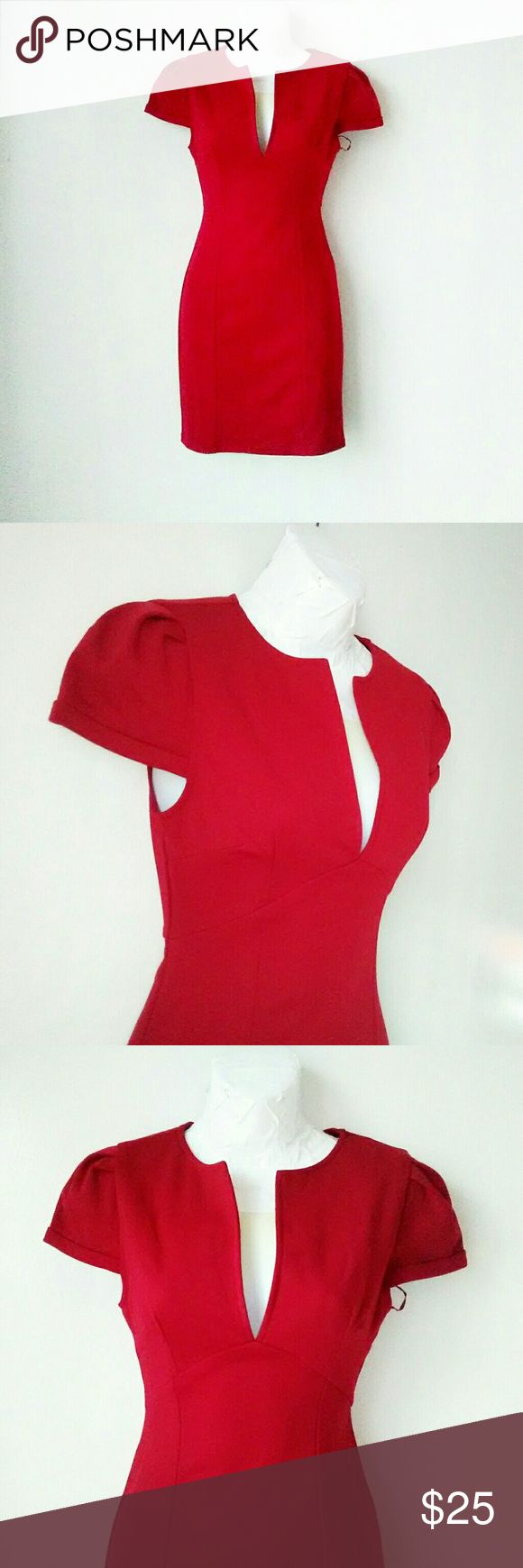 Tobi red body con dress red bodies body con and short sleeves