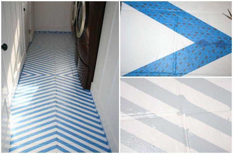 Geometrisches Muster In Grau Und Weiss Am Verfliesten Boden Gestalten