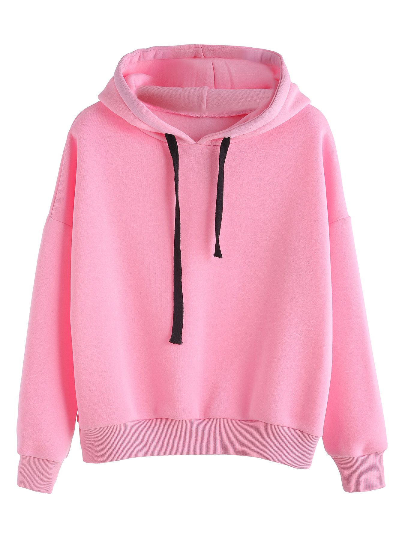 c916675b1048b Shop Pink Hooded Sweatshirt With Drawstring In Black online. SheIn offers  Pink Hooded Sweatshirt With Drawstring In Black   more to fit your  fashionable ...