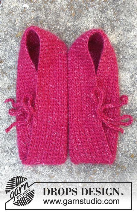 """Crochet DROPS slippers in """"DROPS ♥ YOU #4"""" or """"Nepal"""". ~ DROPS Design"""