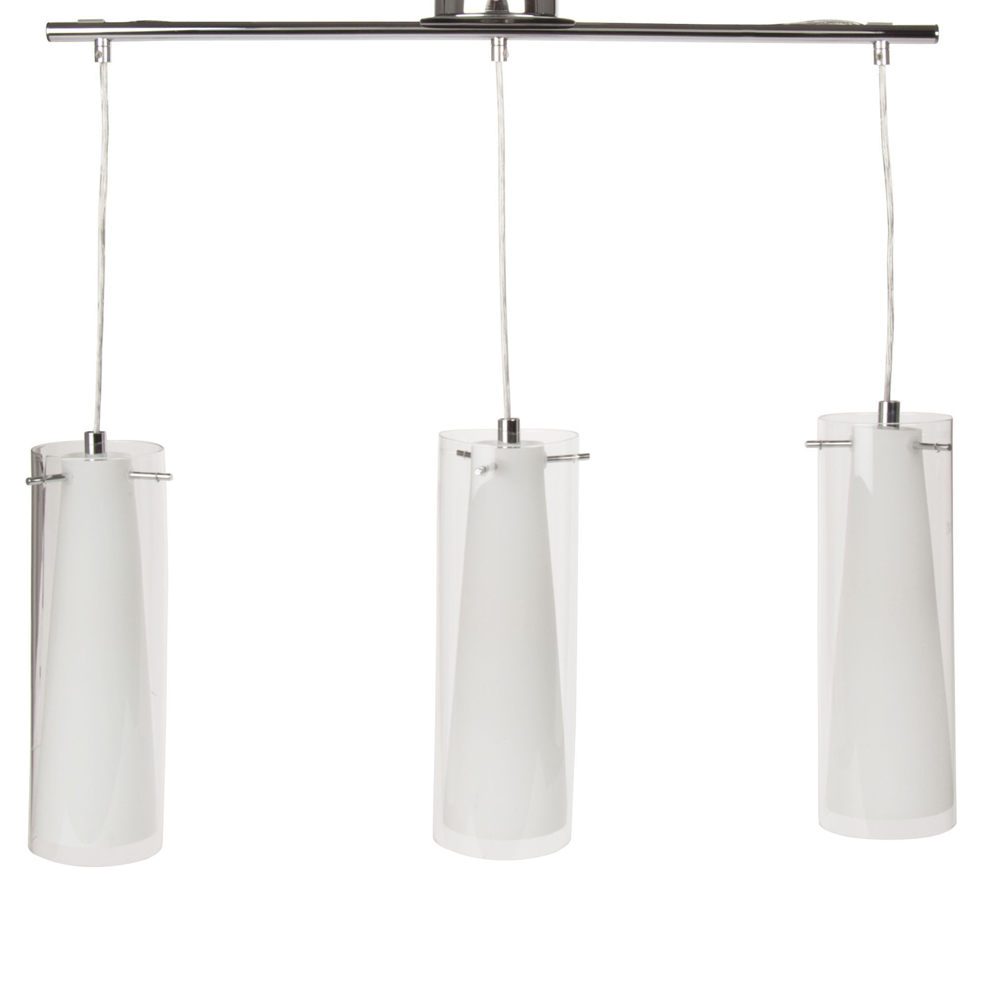 Alinea Luminaire Salon Suspension à 3 Lumières Chrome Verre Transparent Pinto Les