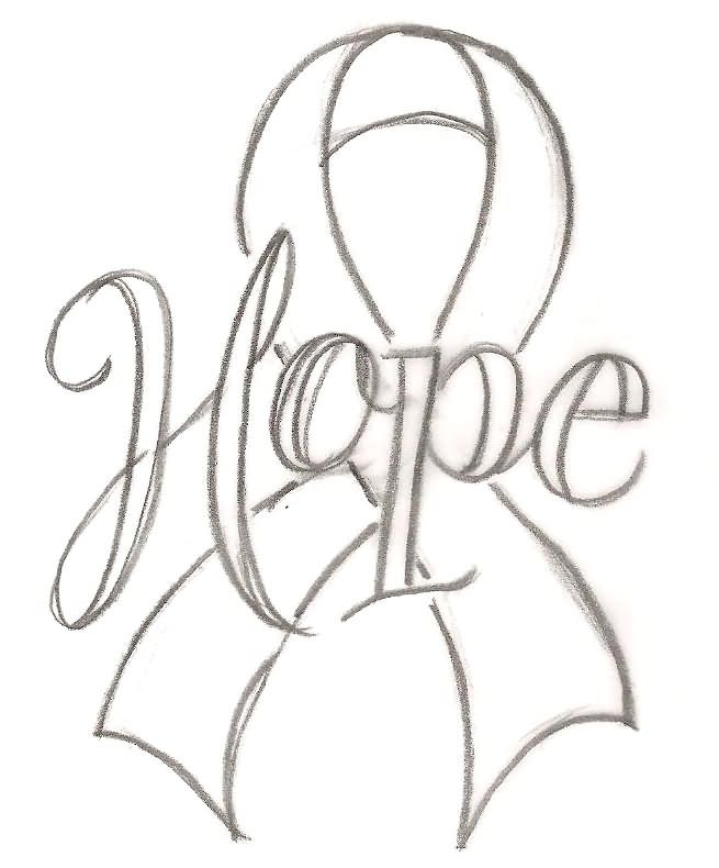 Hope Scroll Cancer Ribbon Tattoo Stencil By Metacharisjpg 655
