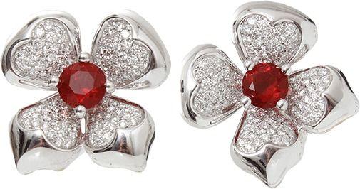 KATHERINE JETTER Fire Opal Flower Earrings